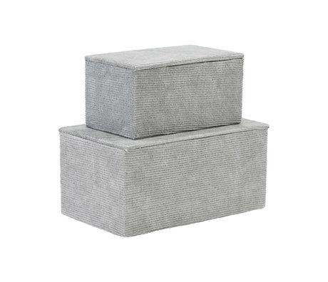 Housedoctor Opbergset Corduroy licht grijs textiel karton set van 2