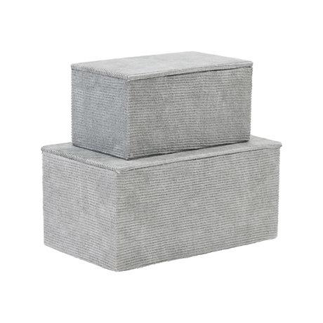 Housedoctor Set de rangement en carton velours côtelé textile gris clair