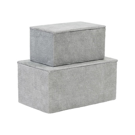Housedoctor Storage set Corduroy light gray textile cardboard set of 2