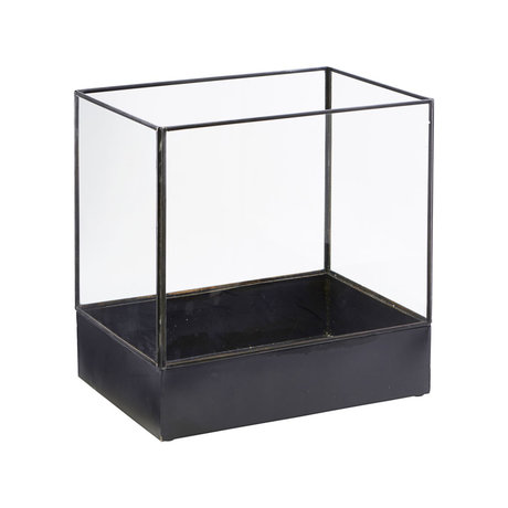 Housedoctor Display box Plant antique black metal glass L 30x21x30cm