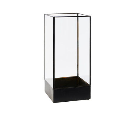 Housedoctor Vitrine Pflanze Antik Schwarz Metall Glas S 21x21x45cm
