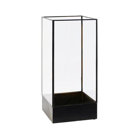 Housedoctor Display box Plant antiek zwart metaal glas S 21x21x45cm