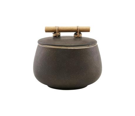 Housedoctor Boîte de rangement avec couvercle en terre cuite brune Diva M Ø14x12cm