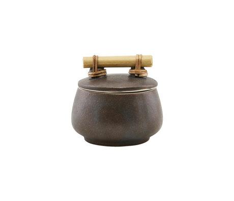 Housedoctor Boîte de rangement avec couvercle en terre cuite Diva brune S Ø9.5x7.5cm