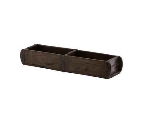 Housedoctor Opbergbakje Brick bruin mango hout L 57x14x9cm
