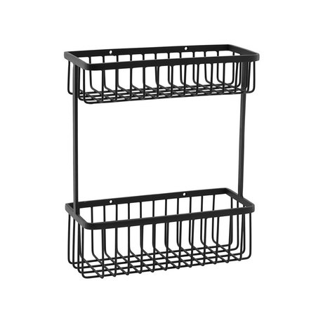 Housedoctor Basket rack black steel L 28x11x33cm
