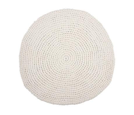 Housedoctor Tapis de bain au crochet en coton blanc Ø80cm