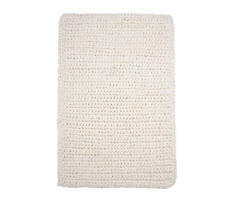 Housedoctor Crochet bath mat white cotton 90x60cm
