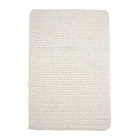 Housedoctor Tapis de bain au crochet coton blanc 90x60cm