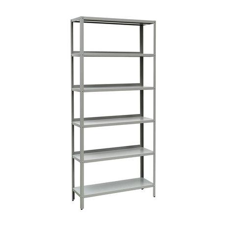 Nicolas Vahe Meuble à étagères présentoir gris métal 90x30x200cm