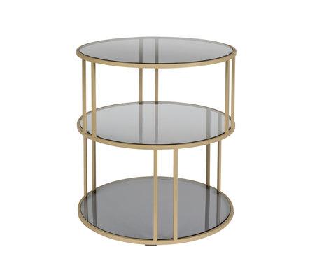 DUTCHBONE Table d'appoint en verre doré Ø45x47cm en métal noir doré