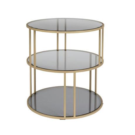 DUTCHBONE Side table Torn black gold metal glass Ø45x47cm