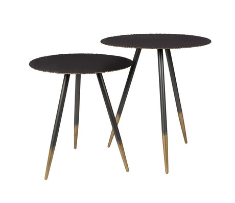 DUTCHBONE Table d'appoint Stalwart en métal noir, ensemble de 2