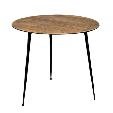 DUTCHBONE Pepper brown wood side table L Ø45x40cm