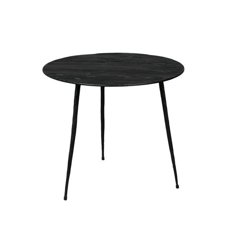 DUTCHBONE Pepper side table black wood S Ø40x35cm