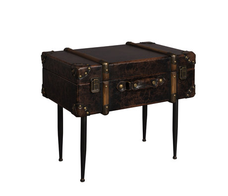 Dutchbone Table d'appoint bagage cuir noir 49x32x40cm