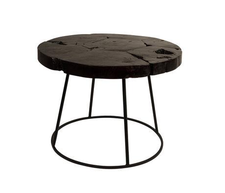 DUTCHBONE Beistelltisch Kraton Chocolate schwarz Holz Ø60x43cm