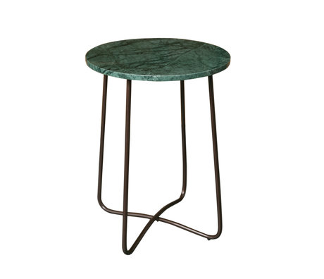 Dutchbone Table d'appoint marbre vert émeraude Ø41x55cm