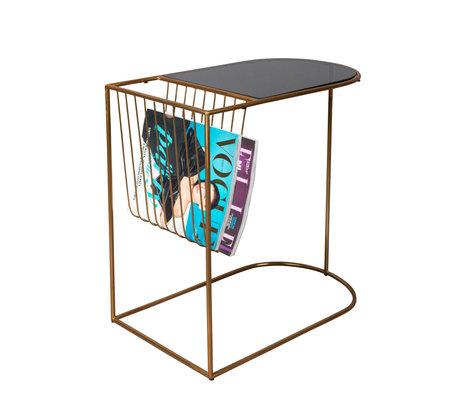 Dutchbone Table d'appoint Eileen métal doré verre noir 51x31.5x51cm