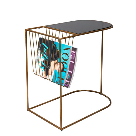 Dutchbone Side table Eileen gold black glass metal 51x31.5x51cm
