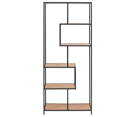 mister FRENKIE Armoire à étagères Levi naturel brun noir bois métal 4 étagères 77x35x185cm