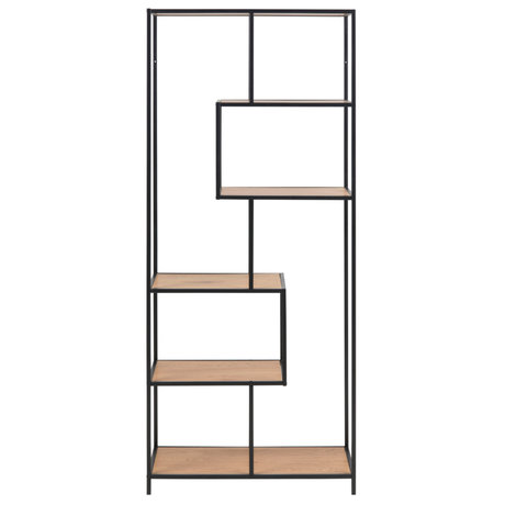 mister FRENKIE Storage cupboard Levi natural brown black wood metal 4 shelves 77x35x185cm