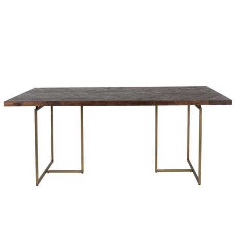 Dutchbone Dining table Class dark brown wood metal 180x90x75cm