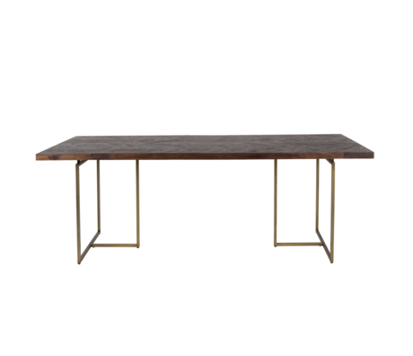 Dutchbone Dining table Class dark brown wood metal 240x110x75cm