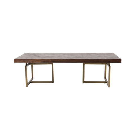 Dutchbone Table basse classe laiton antique métal doré bois 120x60x35cm