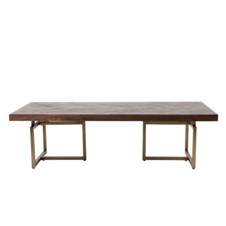 Dutchbone Coffee table Class antique brass gold metal wood 120x60x35cm