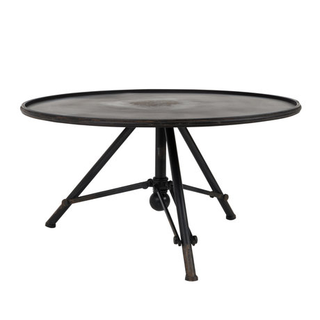 Dutchbone Table basse Brok en métal noir Ø78x40cm