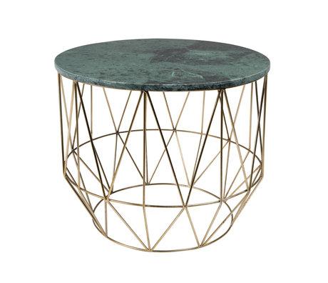 DUTCHBONE Side table Boss green marble metal Ø51x42cm