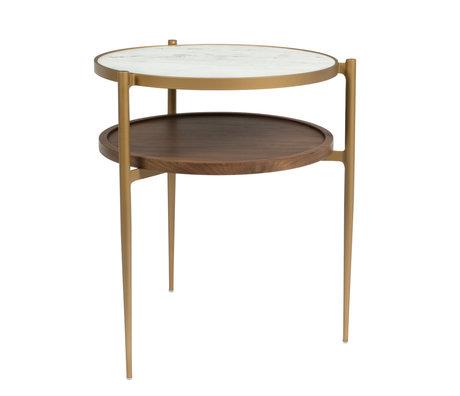Dutchbone Beistelltisch Bella Gold Weiß Braun Marmor Holz Metall 48,5x45x54cm