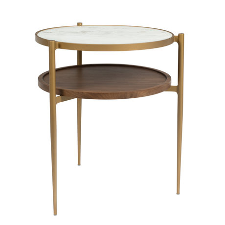 Dutchbone Table d'appoint Bella or blanc marbre marbre bois métal 48.5x45x54cm
