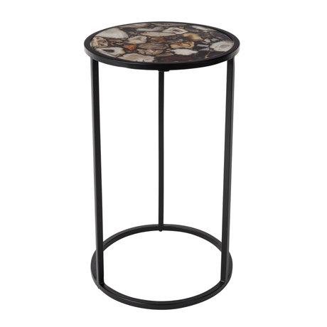 Dutchbone Table d'appoint en agate verre de pierre Ø30.5x51cm
