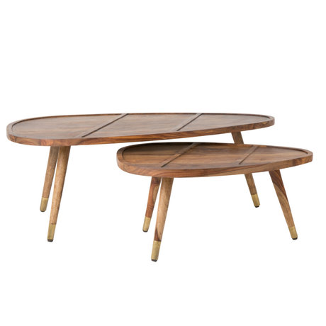 Dutchbone Table basse Sham en bois brun set de 2