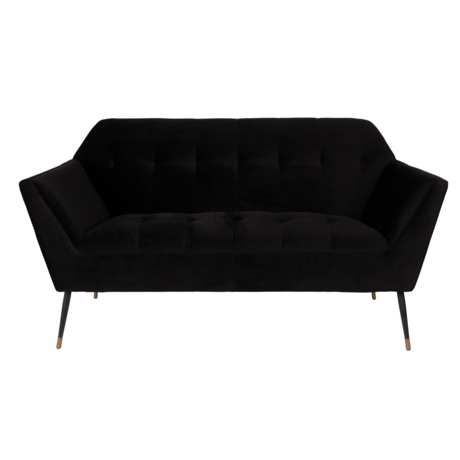 Dutchbone Sofa Kate 2,5-Sitzer schwarzem Samt 148,5x79x80cm