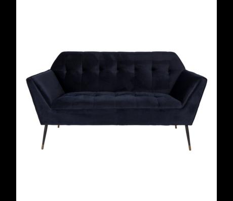 Dutchbone Sofa Kate 2,5-Sitzer tiefblauem Samt 148,5x79x80cm