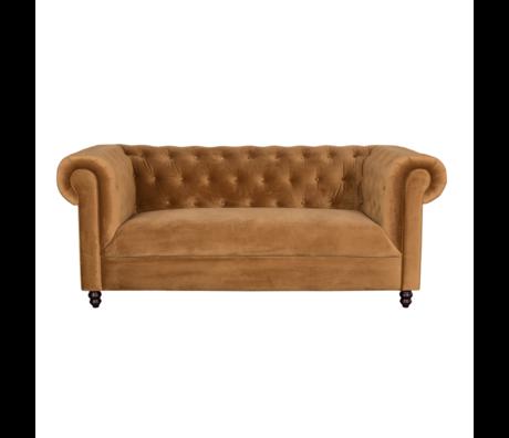 Dutchbone Sofa Chester gold brown velvet 186x94x77cm