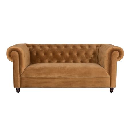 Dutchbone Sofa Chester goud bruin velvet 186x94x77cm