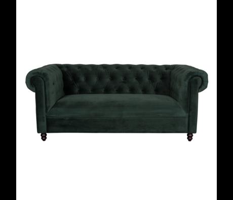 DUTCHBONE Sofa Chester dunkelgrün Samt 186x94x77cm