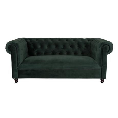 Dutchbone Sofa Chester dark green velvet 186x94x77cm