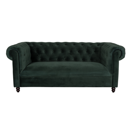 Dutchbone Sofa Chester donker groen velvet 186x94x77cm
