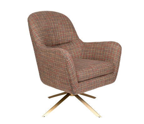 Dutchbone Swivel armchair Robusto Texas tartan brown textile 74x79x89cm
