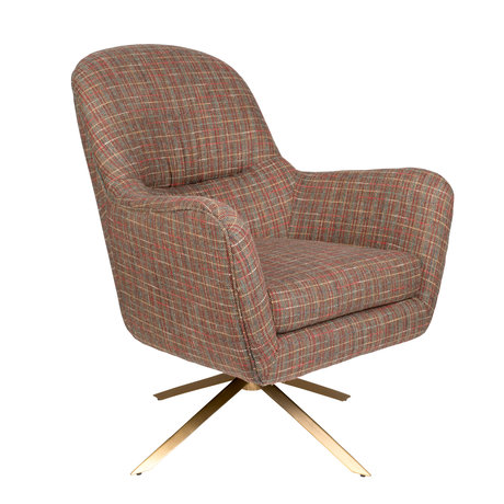 Dutchbone Fauteuil pivotant Robusto Texas tartan brun textile 74x79x89cm