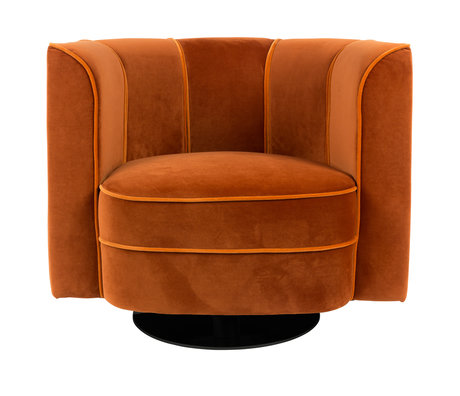 Dutchbone Swivel armchair Flower orange velvet 86x74x76cm