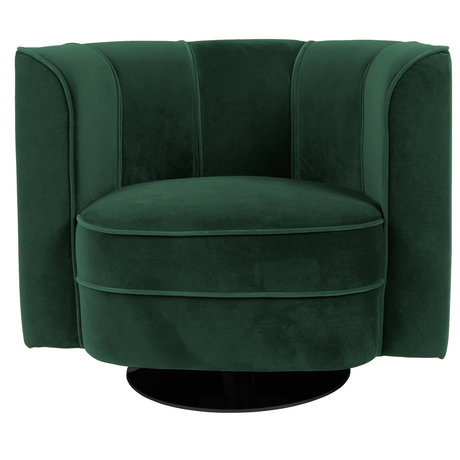 Dutchbone Swivel armchair Flower green velvet 86x74x76cm