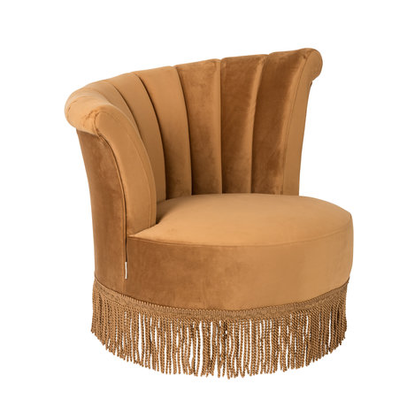 Dutchbone Fauteuil Flair velours marron doré 95x85x88cm