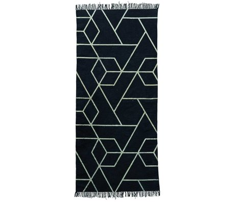 Housedoctor Rug Phantom black and white cotton 90x200cm