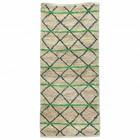 Housedoctor Rug Grüne Geometrie grün schwarz beige Leinwand 90x200cm